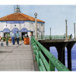 "SOLD! ""Saturday at the Pier."" Gouache."