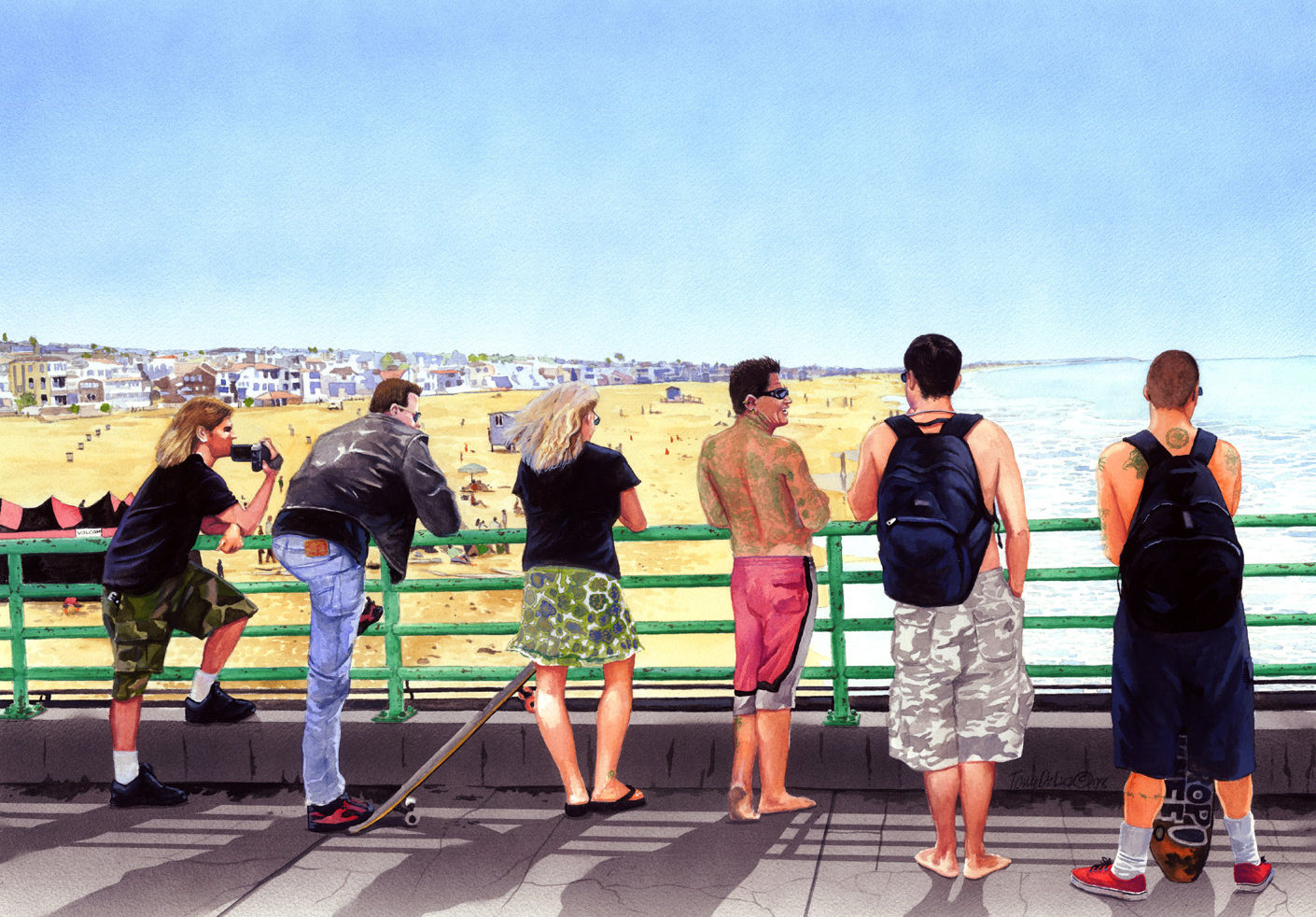 """Monday at the Pier, Manhattan Beach, CA."" Gouache. 18x26, approx. $700."