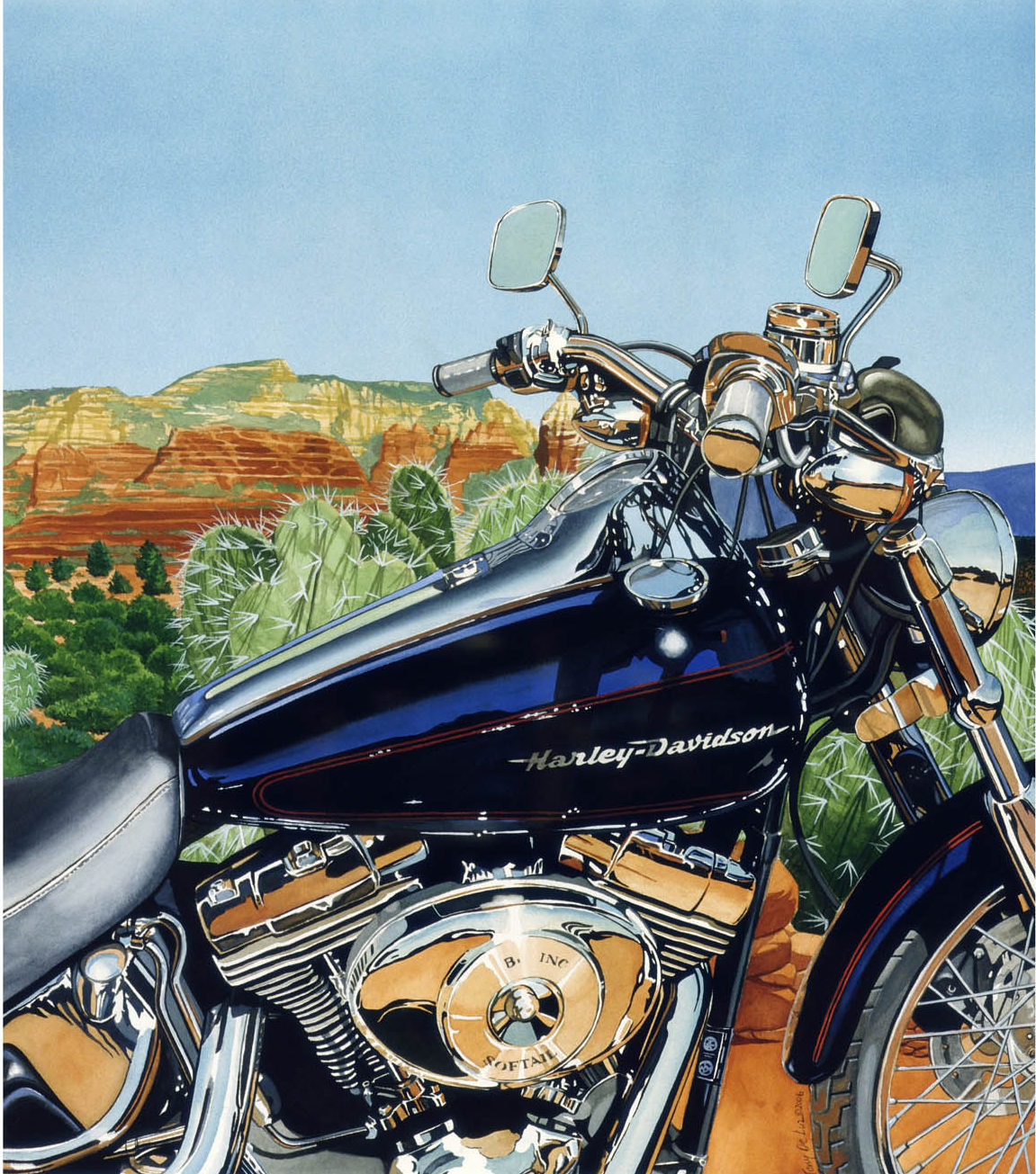 "SOLD! ""Sedona Softail."" Approx 21x24. Gouache. $800.  SOLD!"