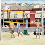 """Wednesday at the Pier, Hermosa Beach, CA."" Gouache, approx 17x26. $500."